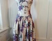 Vintage 1940s Drop Waisted Floral Bouquet Spring Fashion Cotton Party Dress