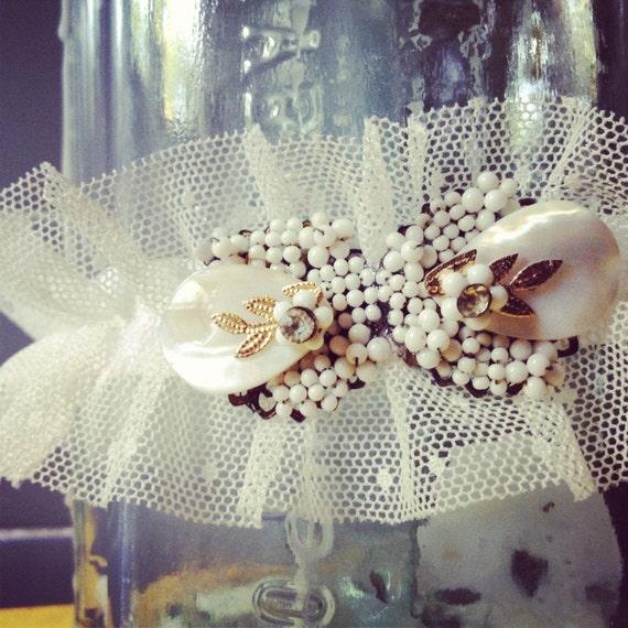 Bridal Garter: Pearl, Rhinestone Vintage Jewelry & Point d'Esprit
