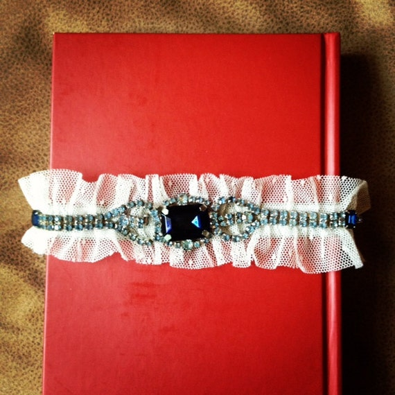 "Bridal Garter: Sapphire Vintage Jewelry & Point d'Esprit ""SOMETHING BLUE"""