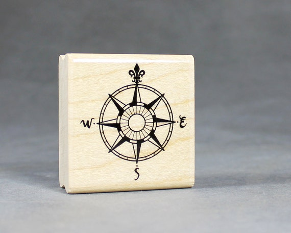 Vintage Compass Rubber Stamp for Nautical Weddings