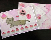 Hello Dog with Cakes Card and Envelope