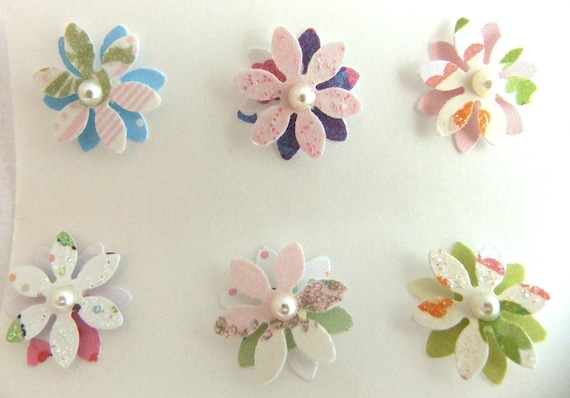 Dimensional Flower with Pearl Stickers Set of 6  -ku-