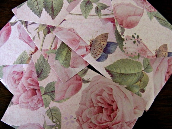 Mini Envelope Set of 4 - Pink Rose and Butterfly