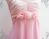 Floral Love - Chiffon Dress in Pale Pink for Prom,Wedding Party, Special Dinner, Sun Dress Etc.