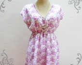 CLEARANCE SALE / Free Ship Assortable  Bossa - Love of Floral Retro Pink Purple Floral Chilling Dress