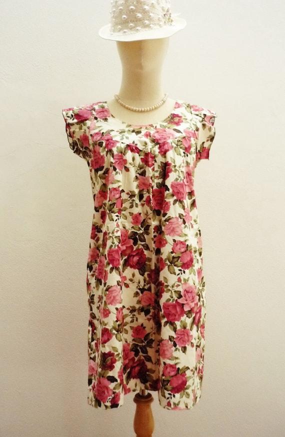 ooOBUY 3 GET 1 FREEooOAssortable  Senorita - Pink Rose Vintage Style Printed Cotton Dress or Long Top Fit Size S-M