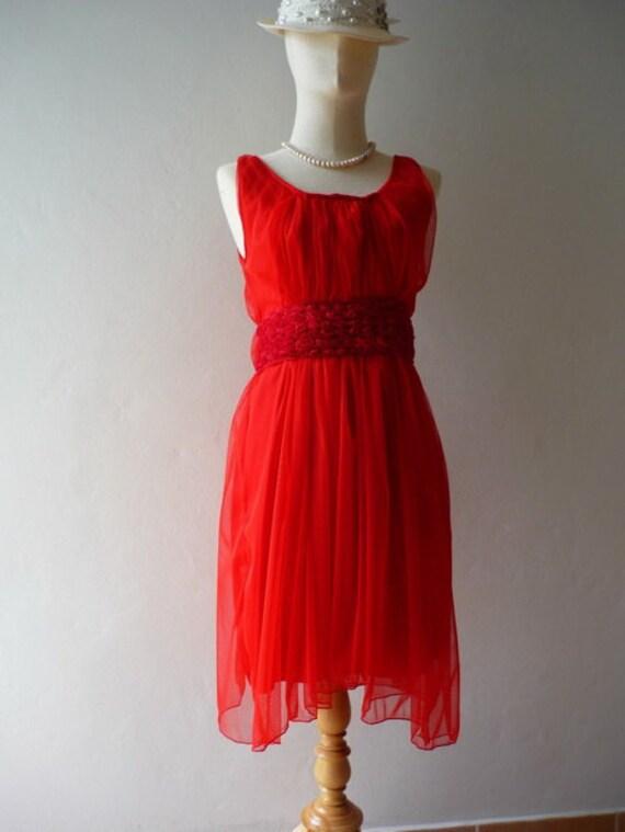 Rose Fairy Hot Red - Chiffon Dress S/XS