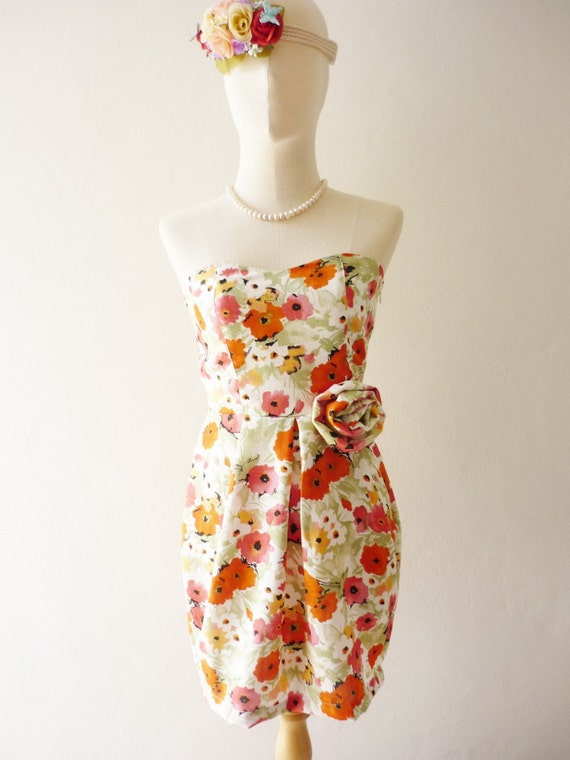 CLEARANCE SALE / Free Ship Vintage Inspired - Queen Paradise - Sexy Sweet Mini Dress Fit Miss Petite Size in Juicy Tangerine XS