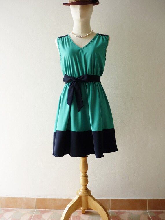 CLEARANCE SALE / Free Ship Party Never End- Be Chic in the Party- Groovy Blue Dress -Fit S-M-