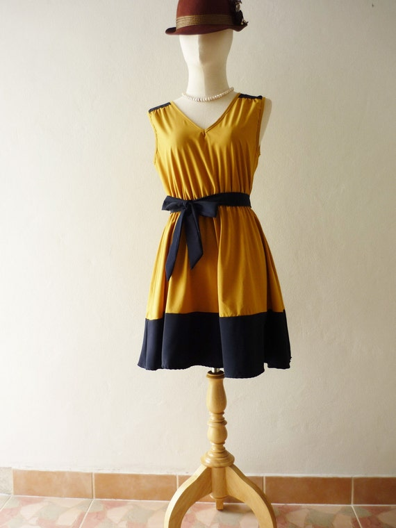 CLEARANCE SALE / Free Ship Party Never End- Be Chic in the Party- Mustard Dress -Fit S-M-