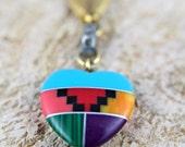 Vintage Native American Boho Rhinestone Tribal Art Deco Southwestern Cut Stone Heart Pendant Necklace Chain