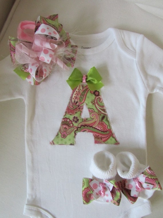 Baby Girl's Monogrammed Onesie Gift Set, New Baby Gift Set (Pink/Sage Paisley)