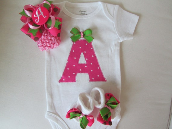 Baby GIrl's Monogrammed Clothing, Newborn going home set (Pink and Green Polka Dot)