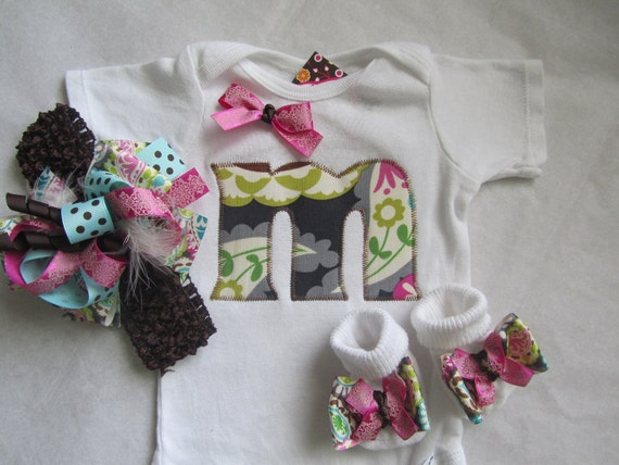 Baby Girl Monogram Gift Set/ Newborn Girl Going Home Set (pink and gray paisley)