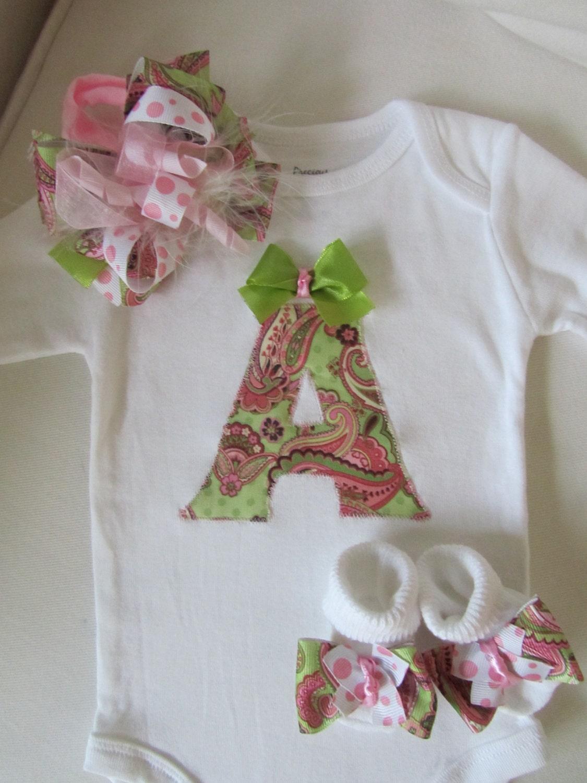 Baby Gift Monogram : Baby girl s monogrammed onesie gift set new