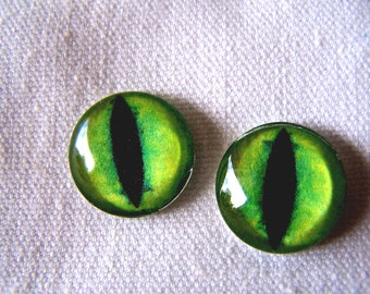 Glass eyes, 16mm cat eyes, green glass eyes, glass cat eyes