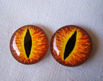 Glass eyes dragon eyes fantasy glass eyes for jewelry making or sculpture 20mm in size