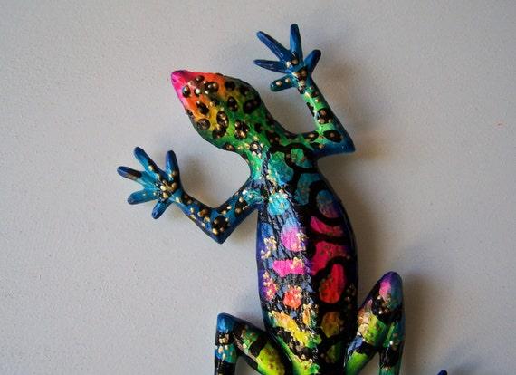Gecko art sculpture reptile wall decor for Gecko wall art