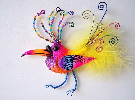 Bird art whimsical bird colorful bird