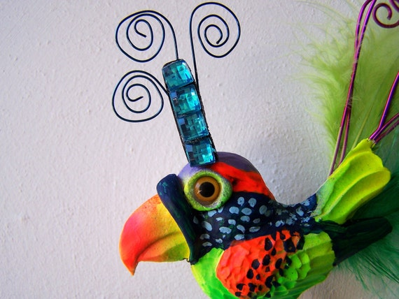 Bird wall decor whimsical wall sculpture