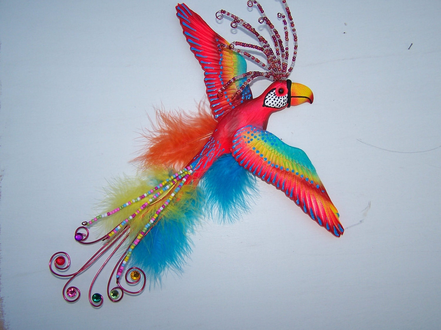 Bird art colorful whimsical parrot wall sculpture Colorful wall decor