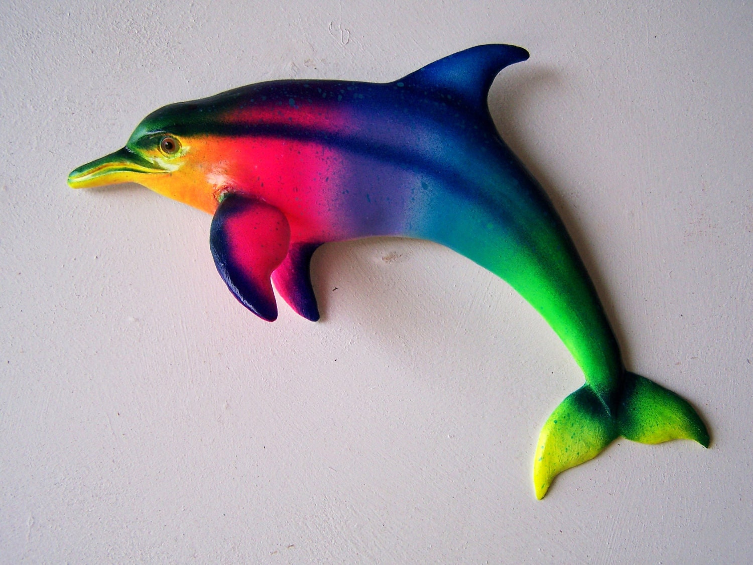 Dolphin art whimsical rainbow wall decor porpoise sculpture