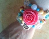 Chaolitis Skull and Flower Bracelet Silver Victorian Hart Crystals Glass Beads Moonstones Teens Victorian Pink Rose Beach
