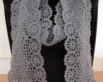 Rainy Sky Flower Garden Crochet  Scarf - Ready to Ship