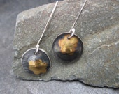 Flower design drop earrings made from sterling silver and gold