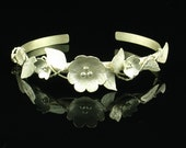 Cuff Bracelet Sterling Silver Flower  - One of a Kind