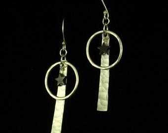 Handmade Sterling Silver Hematite Star Earrings - Sterling Silver Bar Circle Hoop Dangle