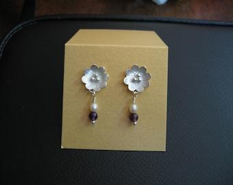 Handmade Sterling Silver Flower Pearl and Gemstone Earrings - Wedding Bridesmaid Prom Mother