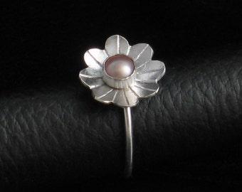 Handmade Sterling Silver Flower Pearl Ring