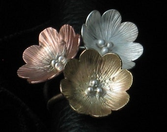 Handmade Sterling Silver Copper and Brass Large Flower Ring Set