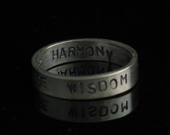 Set of 2 Handmade Sterling Silver 4mm Inspirations Bands - Both Sides Personalized