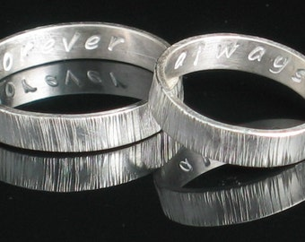 Set of 2 Sterling Silver Rings 4mm Vertical Texture with Stamping
