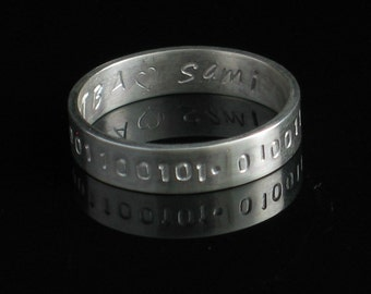 Handmade Sterling Silver Ring 5mm Band Personalized Inspirations - Unisex Stamped Both Sides