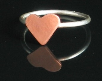 Handmade Copper and Argentium Sterling Silver Heart Ring - Personalized Stamping Included