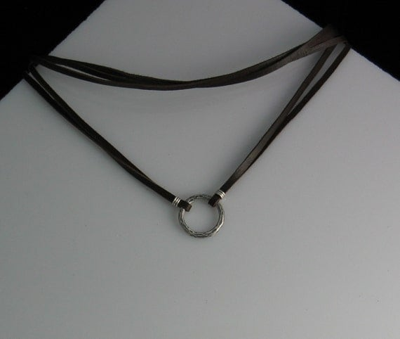 Leather and Sterling Circle Pendant Choker Necklace - Unisex Infinity Zoe Firefly