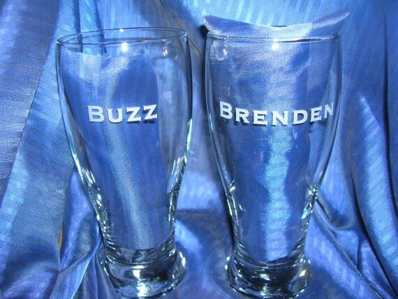 On Sale) Personalized Custom engraved - etched  pub glass for wedding, anniversary, father's day, any occasion