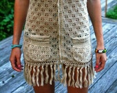 RESERVED FOR TORRONELLY Vintage Crochet Fringe Hippie Dress/Cover Up