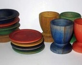 Wooden dish play set  - miniature kitchen dishes