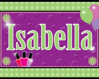 Personalized Spa Party Placemats / Party Favors