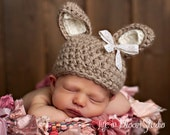 SALE Sweet Taupe Vintage Lace Easter Bunny Crochet Beanie Hat Girl Boy Newborn 0-3 3-6 6-12 12-24 months 2-5 years