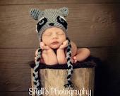 SALE Crochet Racoon Hat Newborn, 0-3, 3-6 , 6-12, 12-24 months, 2-5 years