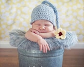 SALE Crochet Flower Pot Hat Newborn 0-3 , 3-6, 6-12 months Boy Girl Unisex Grey with Yellow and Red Flower