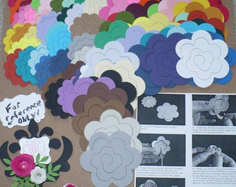 Cardstock Flower Rose Blooms for Quilling 76  Die Cut pieces 2 sizes