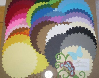 38 pc Large Scallop Circles Die Cuts cut from Rainbow colors - Cardstock