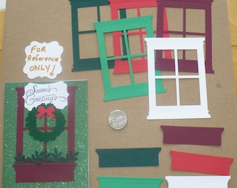 Cardstock Die Cuts Christmas colors Grand Madison 4 Pane Window Frame plus Flower Boxes 5 pc each