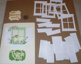Cardstock Die Cuts White Small Madison 4 Pane Window Frame Flower Boxes plus Shutter pieces